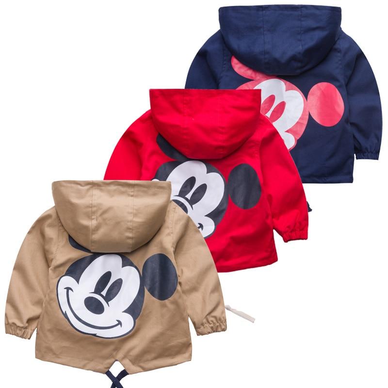Новая Осенняя ветровка, Детская куртка для мальчиков с милым Микки, детская верхняя одежда, пальто для мальчиков, детская одежда с капюшоном