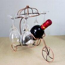 Retro Metal Wine Rack Glass Hanging Holder Home Wine Cabinet Hanger Shelf Decoration Wrought Iron Chariot Red Wine Rack Ornament