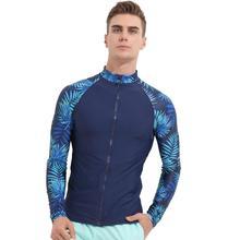 Floral Men UPF 50+ Long Sleeve Rashguard Splice UV Sun Protection Basic Skins Surfing Diving Swimming T Shirt Blue Black M 3XL