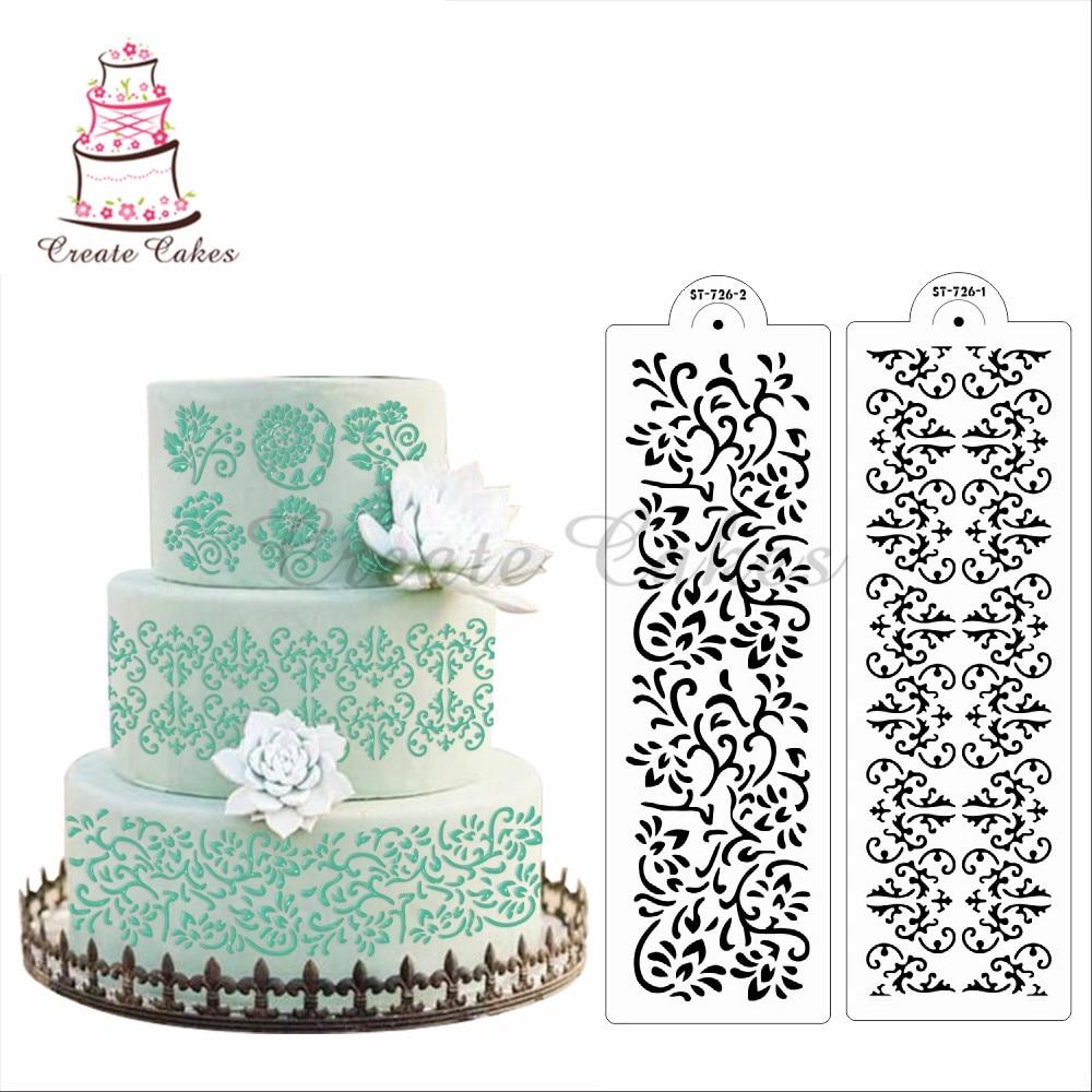 Трафарет для украшения цветочной лозы, дамасский пирог, трафарет, дизайн печенья и торта, пластиковая помада, инструменты для украшения ST-726
