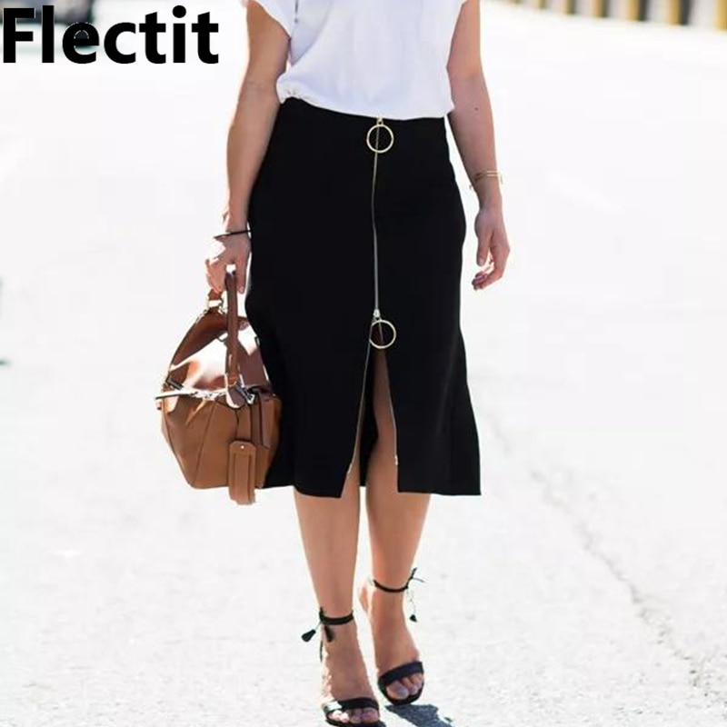 Falda de tubo con cremallera frontal para mujer de Flectit, falda larga ajustada con doble bolsillo de anillo redondo en negro de talla grande XXL *