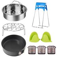 Behogar 9in1 Kitchen Accessories Steamer Basket Egg Rack Bowl Clip Springform Pan Magnetic Cheat Sheets for Instant Pot 5 6 8Qt