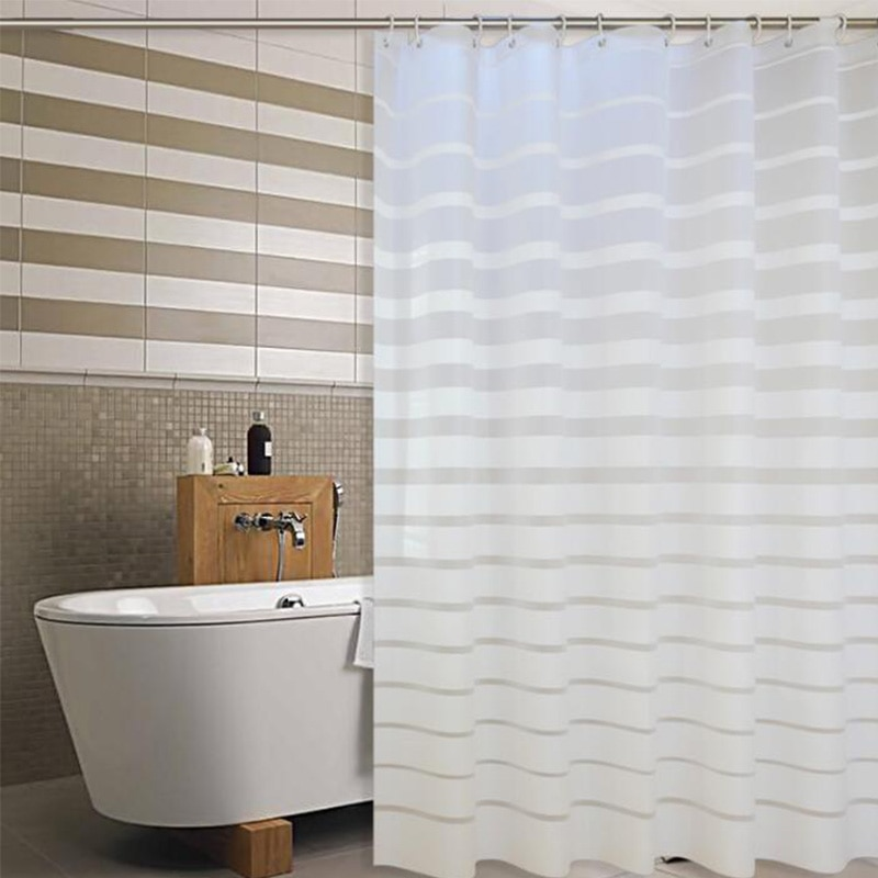 Cortinas de chuveiro plástico peva listrado branco tela do banho para casa hotel banheiro à prova dwaterproof água molde cortina com ganchos