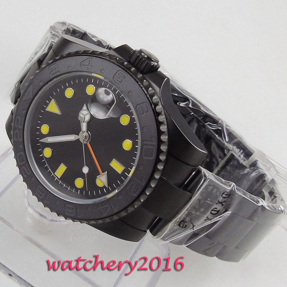 40mm Dial estéril giratorio de cerámica cepillada bisel de cristal de zafiro GMT correa de Metal de regalo para hombres PVD movimiento automático reloj de hombres