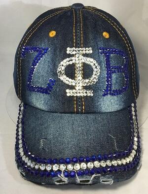 10pcs   Diamond Point Sorority ZPB  hat  letters style Glass denim capst custom baseball cap Hat rhinestone ZETA PHI BETA hat