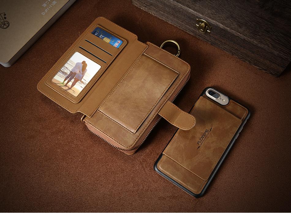 Floveme vintage leather wallet phone case for iphone 7 7 plus 6 6 s plus retro torebka slot kart pokrywa dla samsung s7 s8 coque 5