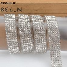 1 jarda/lote 5/6 linhas strass guarnição 1cm de largura ss6 hot-fix auto-adesivo de cristal fita de casamento vestido de noiva decoração applique