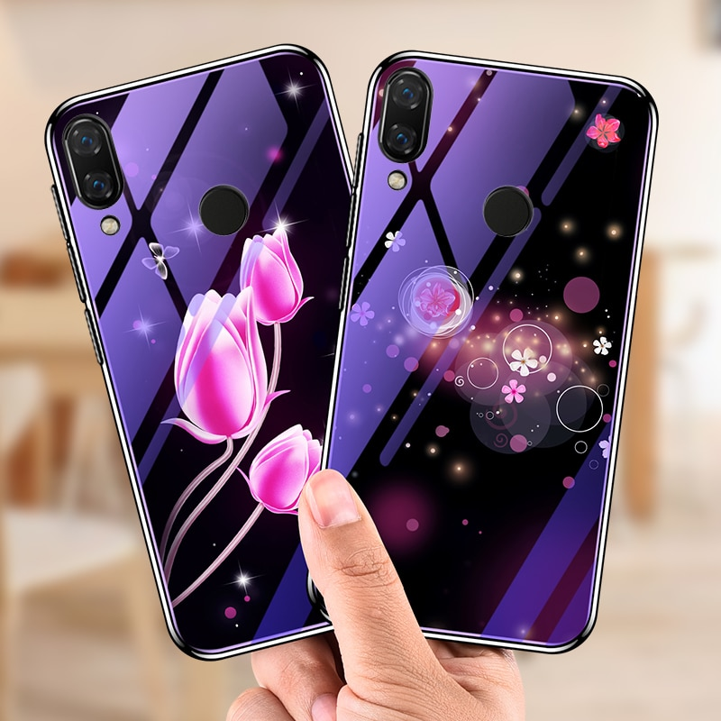 Para Huawei Honor Caso 8X Bumper Blue Ray Flor Veados Casco de Vidro Temperado Tampa Traseira para Huawei Honor 8X Max caso fundas