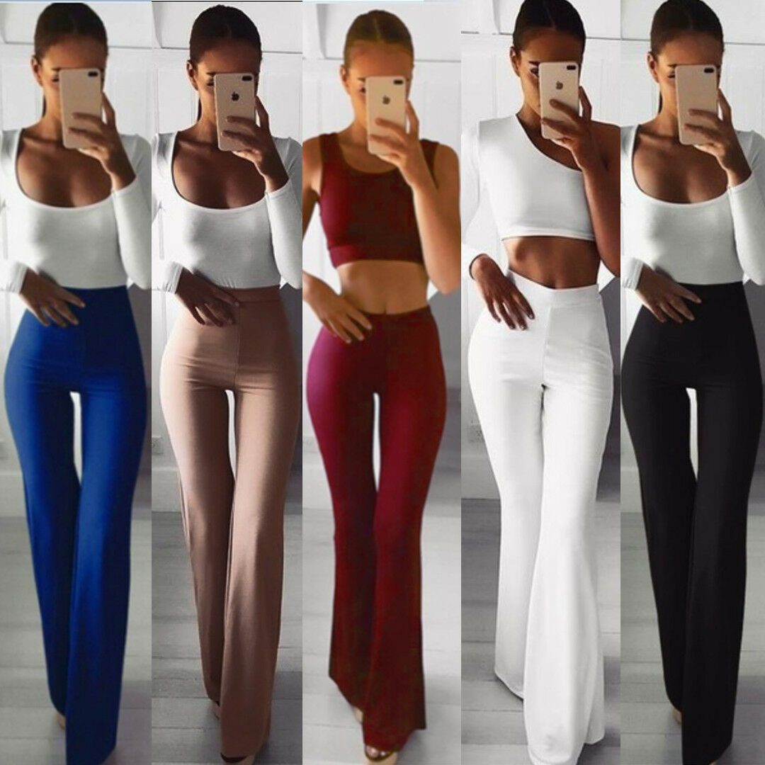 Summer Autumn Solid Elegant Female Lady Women's Palazzo Flared Wide Killer Legs Pants High Waist OL