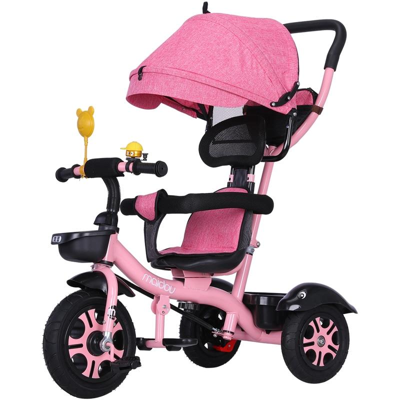 عربة طفل 3 في 1 المحمولة دراجة أطفال ثلاثية دراجة عربة طفل 3 عجلات للتحويل مقبض دراجة للأطفال ترايك يمكن الجلوس الاستلقاء