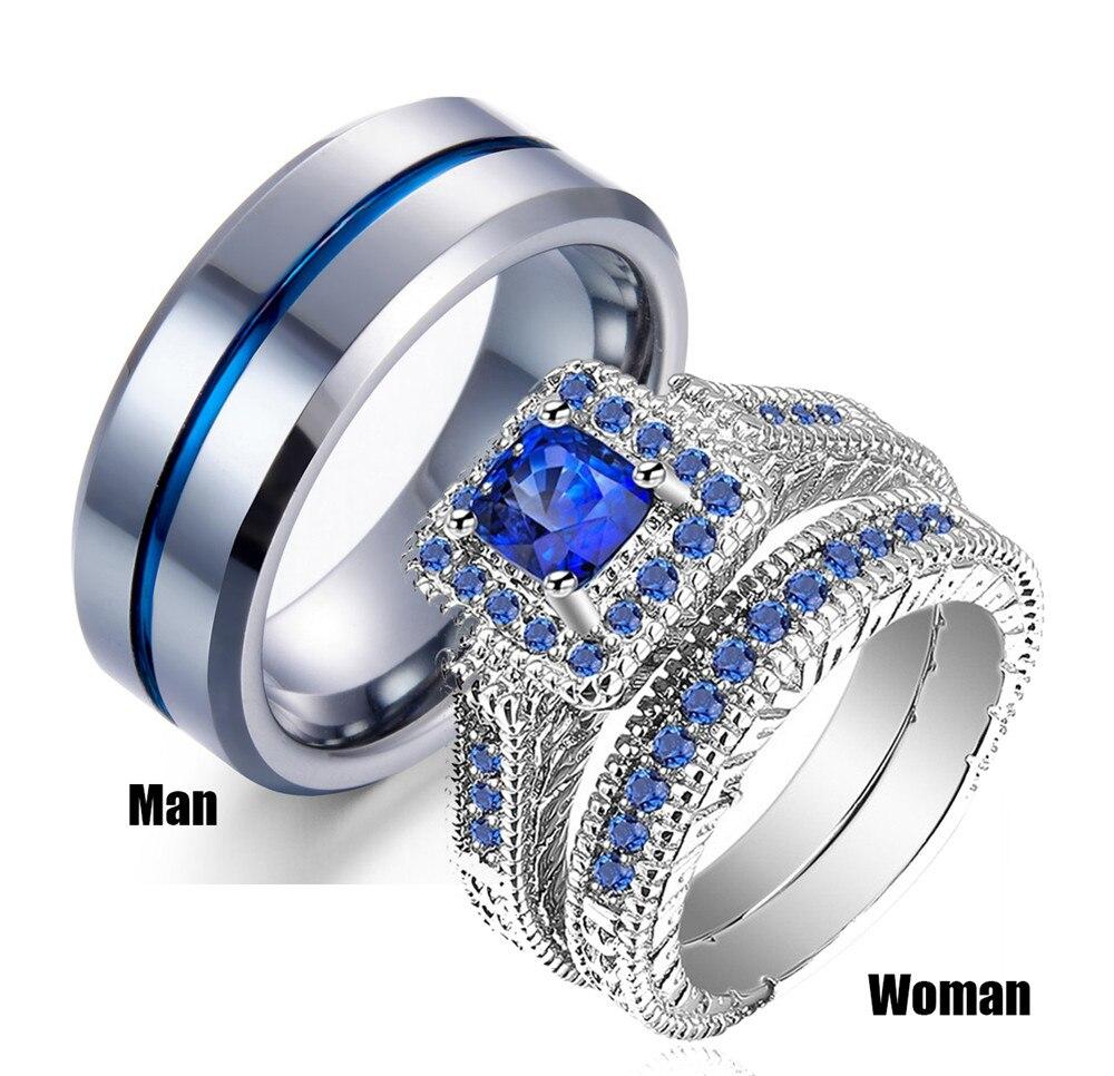 His & dela pares conjuntos de anel das mulheres ouro branco preenchido azul pedra cz noivado anéis de noiva dos homens banda de casamento de aço inoxidável