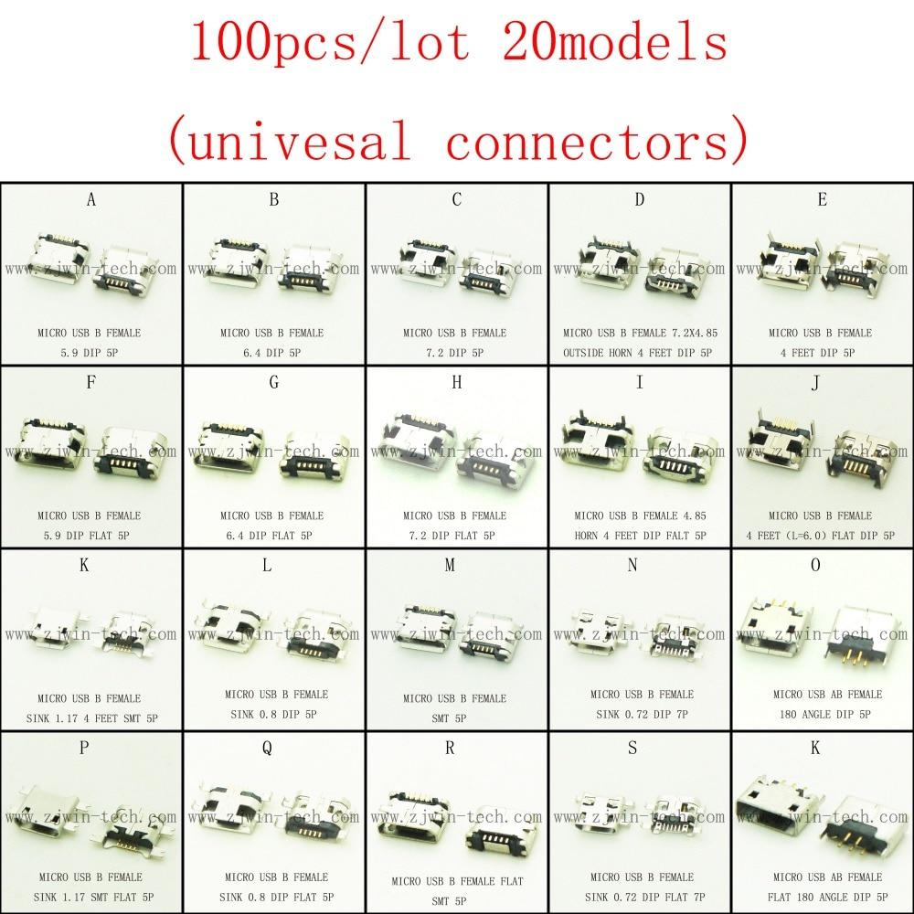 Promotion!100pcs/lot 20models micro USB 2.0 connector USB jack for mobile tabletels speakers etc charging socket
