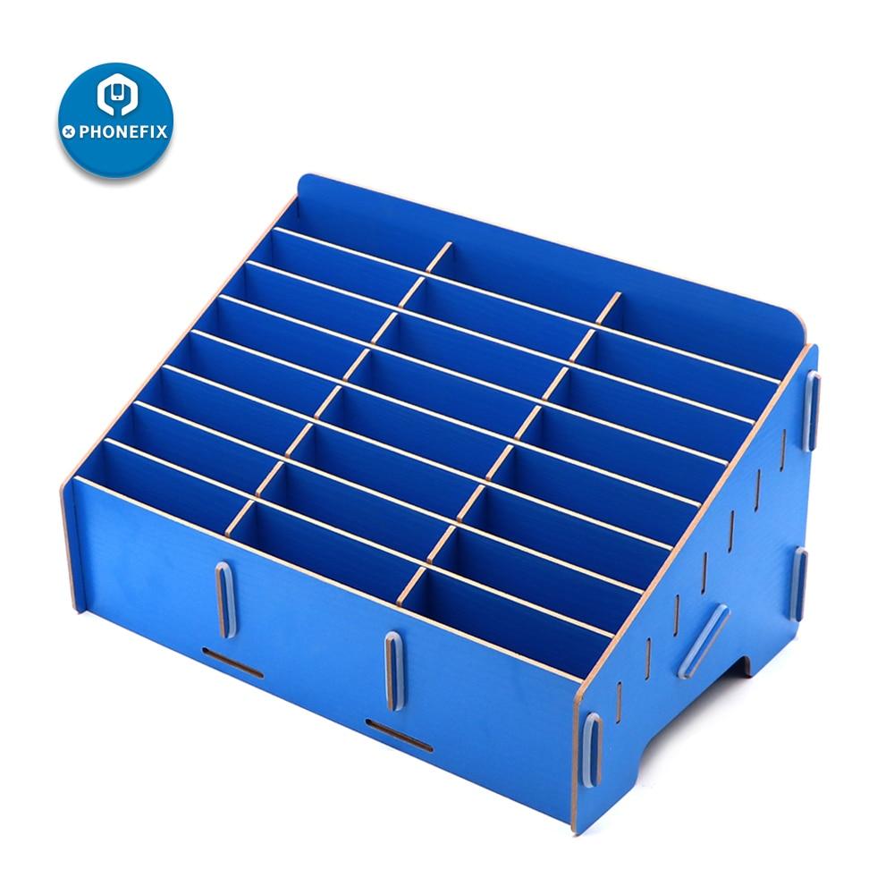 24 Grid Wooden Desktop Storage Box Mobile Phone Management Creative Office Meeting Finishing organizer