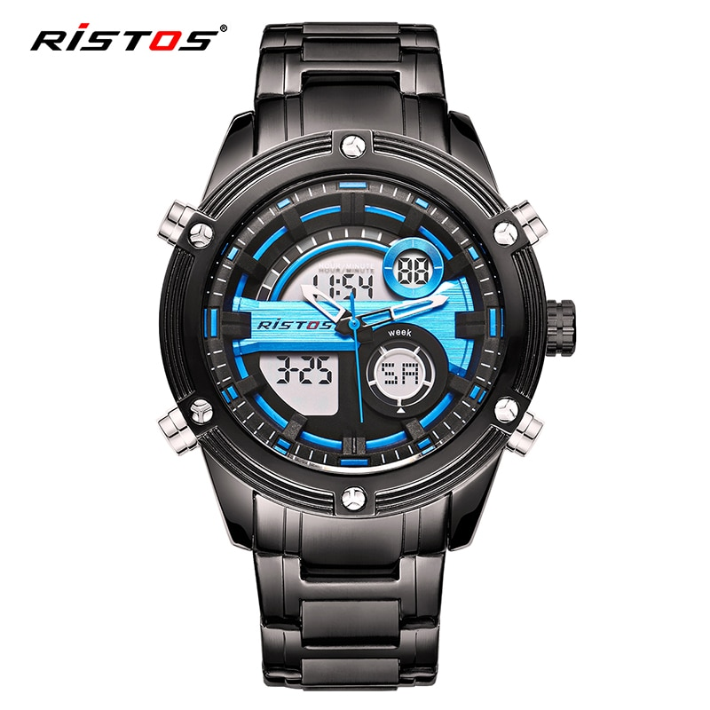 Reloj de pulsera de moda para hombre RISTOS Relojes masculinos cronógrafo multifuncional superior para hombre, Relojes analógicos de acero completo, 9340 Digital