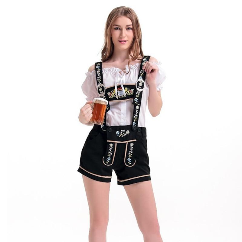Disfraz de criada alemana de cerveza para mujer, disfraz de Dirndl Lederhosen Octoberfest, uniformes de barras de chica de Oktoberfest bávaro