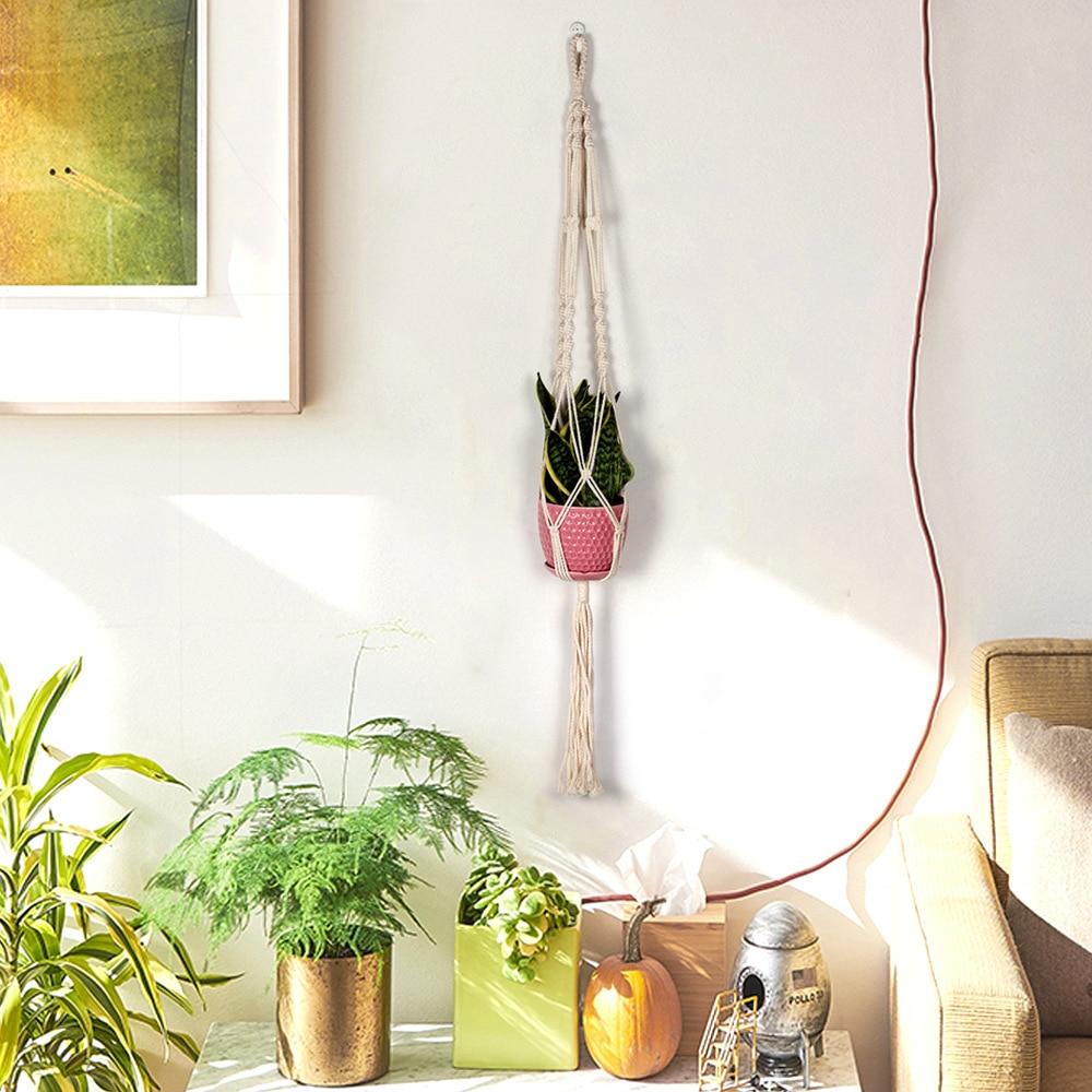 Macrame Cotton Hand Made Rope Hanging Net Flower Plant Hook Sling Hook Hanging Basket Vase Country Yard Garden Wall Decoration