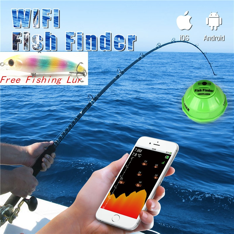 LUCKY FF916 WiFi Fish Finder Wireless English Sonar Fishfinder APP Best Deeper Echo Sounder Alarm Ocean River Lake Findfish Lur