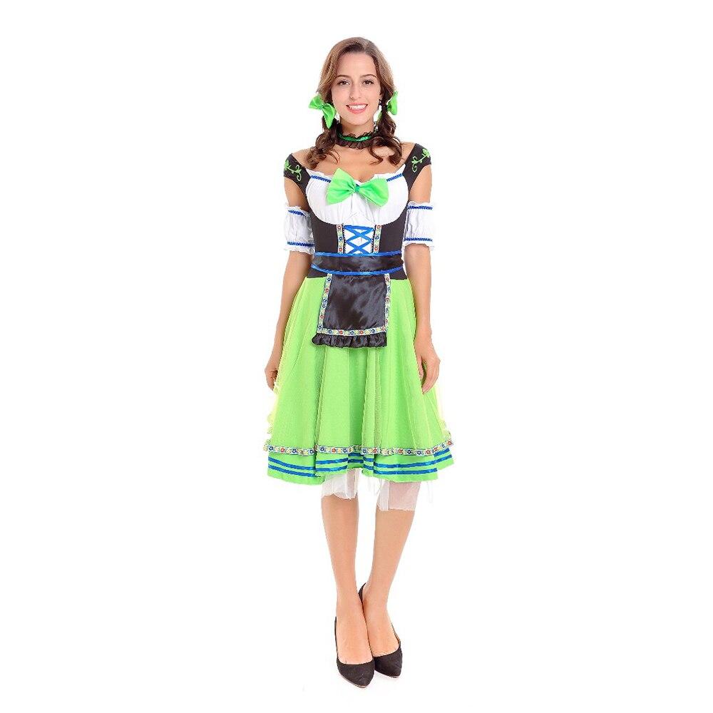 VASHEJIANG Kadın Almanya Bira kız Cosplay Cosumes Kırmızı ve Yeşil Oktoberfest Bira Maid Cosplay Wench Alman Bavyera süslü elbise