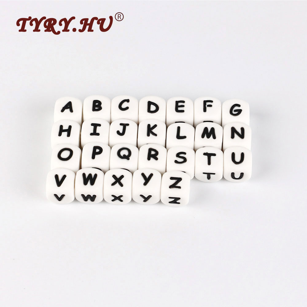 50Pcs Letras Teether Bead BPA Free 12mm Silicone Letter Beads For Jewelry Making Baby Teether Necklace Pacifier Chain