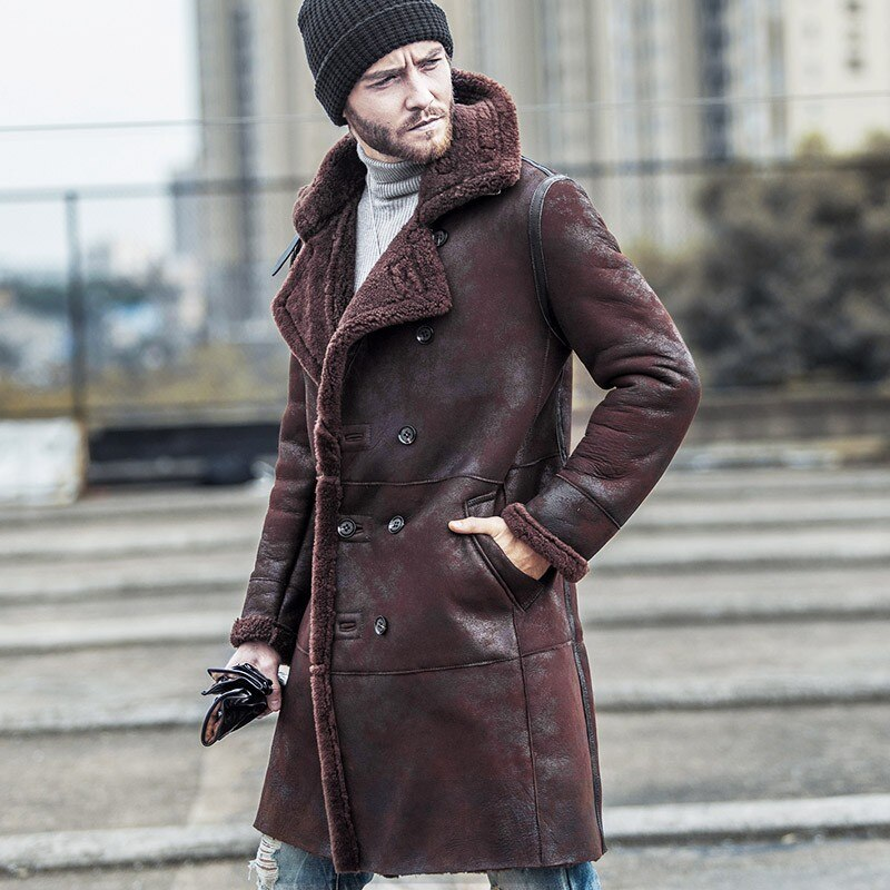 Luxury Mens Military Original Shearling Long Jacket Vintage 100% Real Fur Warm Overcoat Air Force Natural Leather Biker Coats