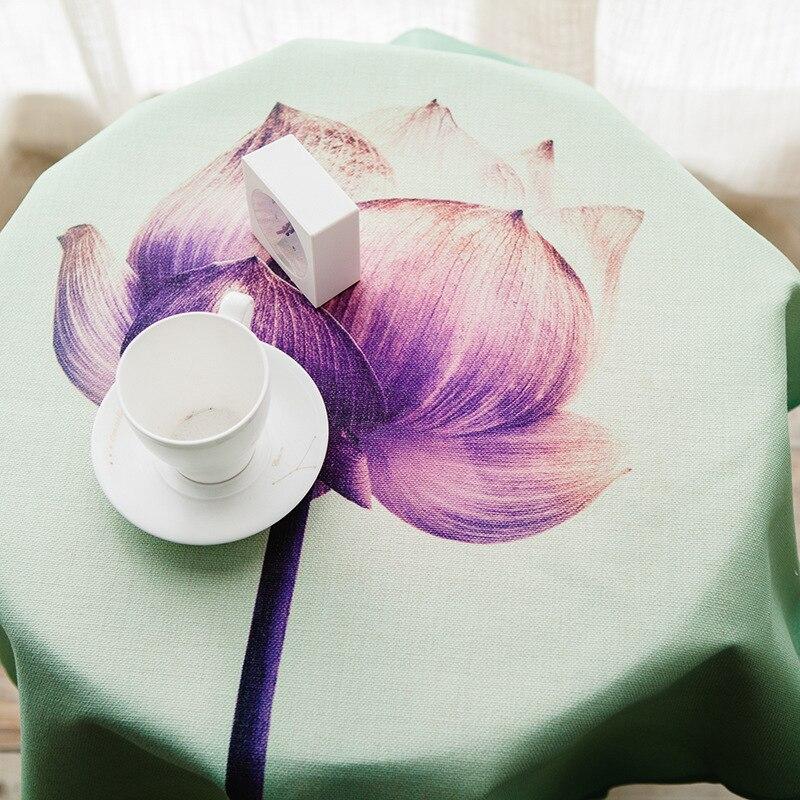 ¡Novedad! mantel de mesa para cenar de algodón y lino con estampado de flores de loto de estilo chino tradicional de alta calidad en 3 tamaños