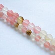 Perles naturelles en Quartz, cerise lisse, 4 à 12mm, grosses, pour la fabrication de bijoux, accessoires, bricolage, livraison gratuite