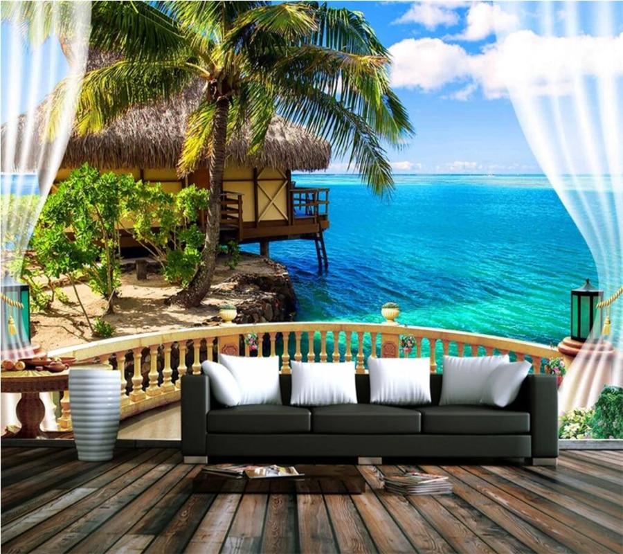 Papel de pared Beibehang, papel tapiz personalizado, mural estéreo 3D para playa, balcón, vista al mar, cielo azul, Nube Blanca, TV, papel de pared