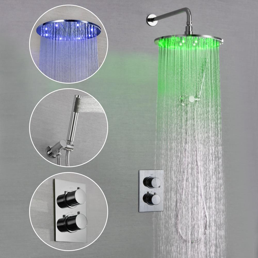 SKOWLL LED Bathroom Shower Set Faucet Thermostatic Bath Shower Valve Chrome Shower SK-7620