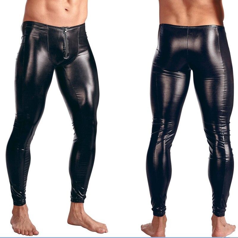 Calça de couro falso masculina de látex, couro pvc gay ize, lingerie sexy, roupa de dança, cueca, calças de palco