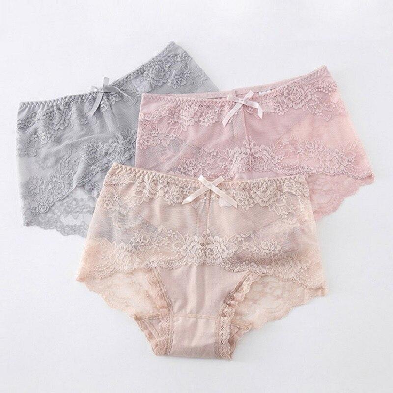 Sexy Fashion Female Plump Underwear Women Plus-Size Transparent Lace Panties For Lady Briefs Intimate Modis Tanga Cotton