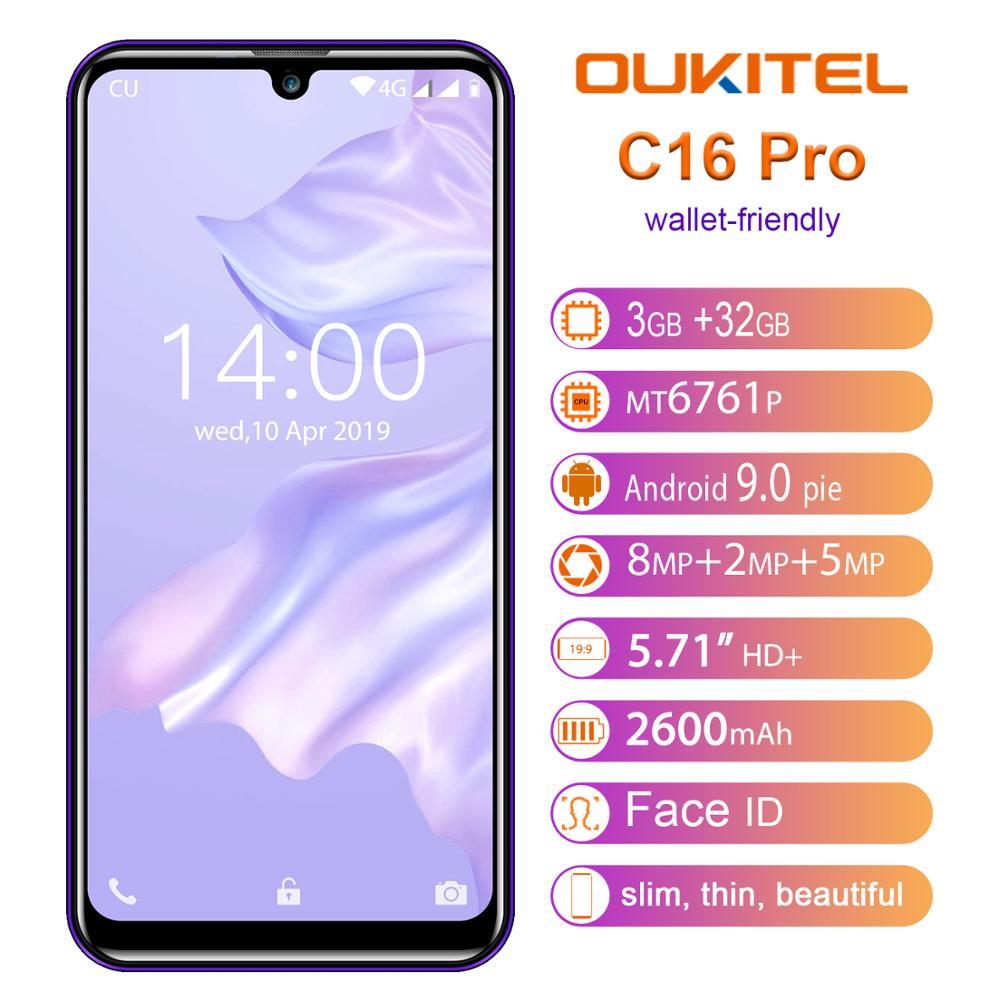OUKITEL C16 Pro C16pro 4G LTE Smartphone 3 + 32 GB Quad Core teléfono móvil MTK6761P 5,71 pulgadas teléfono móvil 2600mAh identificación facial Android 9,0