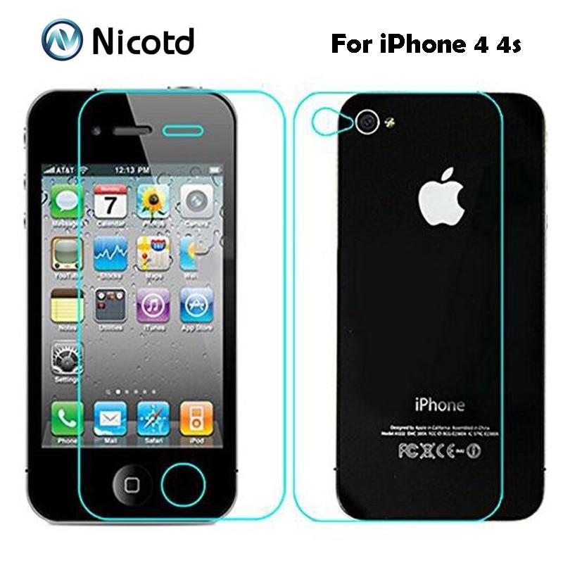 2 2.5D pçs/lote 0.3 milímetros Dianteira e Traseira de Vidro Temperado para iPhone 4 4S Anti-Explosão Filme Protetor de Tela Protetora Para iPhone 4