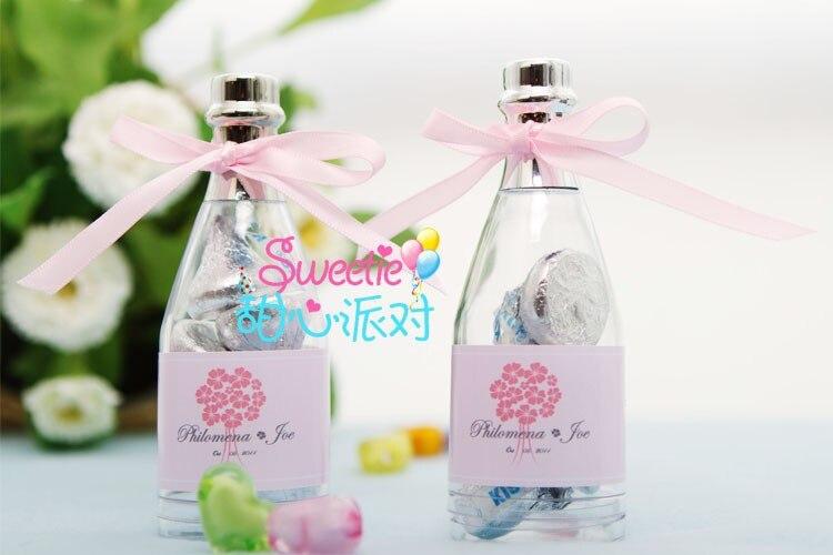 Caixa doce do favor do casamento do chá de fraldas 50 peças/lote da caixa dos doces da festa de aniversário-mini garrafa de champanhe com etiqueta personalizada