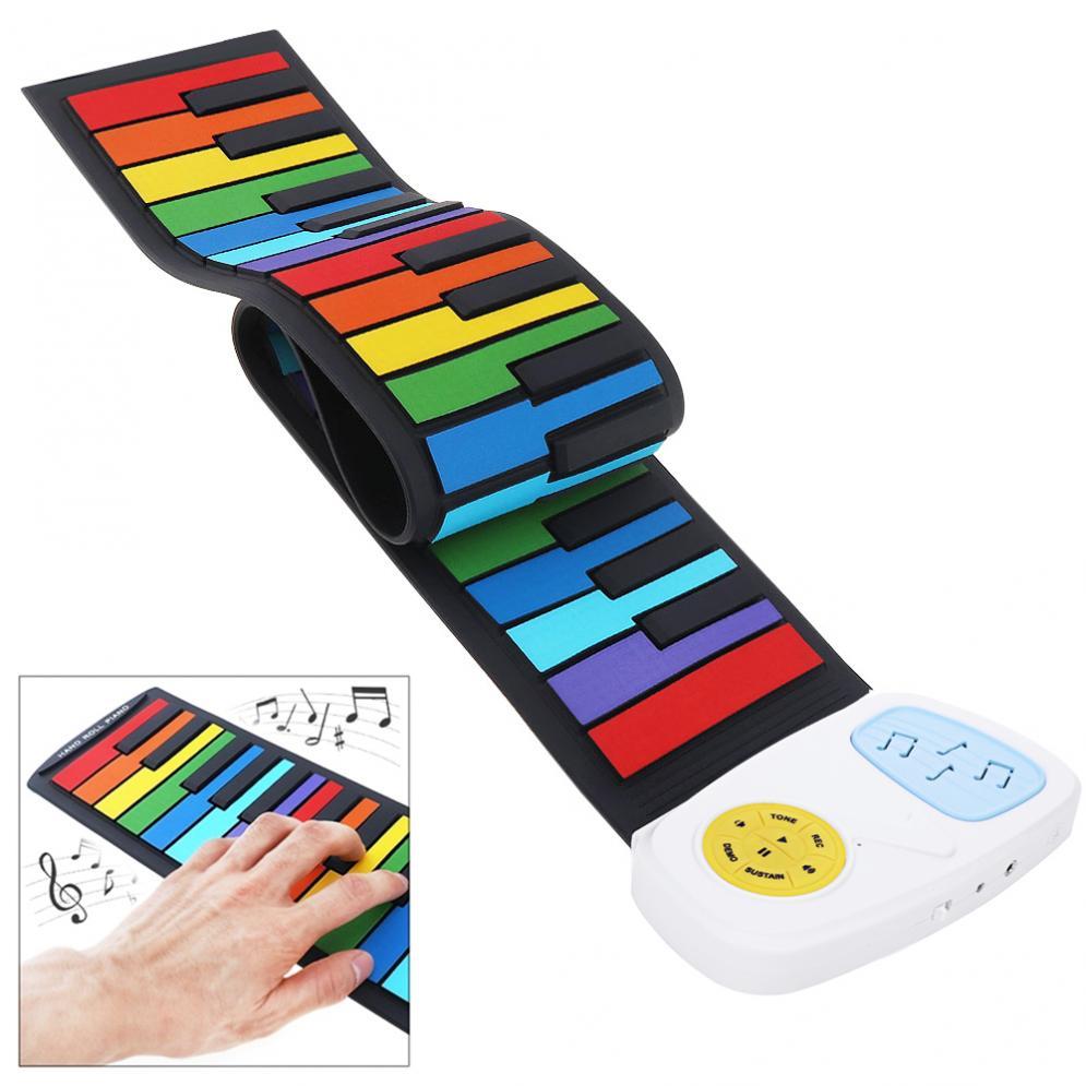 Teclado electrónico de Piano de 49 teclas, colorido, de silicona, Flexible, enrolladas a mano, teclado electrónico de Piano, altavoz incorporado, iluminación, regalo de música