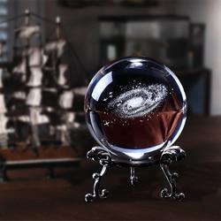 60 мм 3D лазерная гравировка Galaxy стеклянный шар хрустальные миниатюрные подарки для мальчиков Сфера украшения дома аксессуары Глобус подарок Вселенная