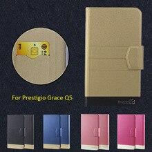 2016 Super! Prestigio Grace Q5 coque de téléphone, 5 couleurs haute qualité Flip mode personnaliser cuir accessoires de téléphone luxueux
