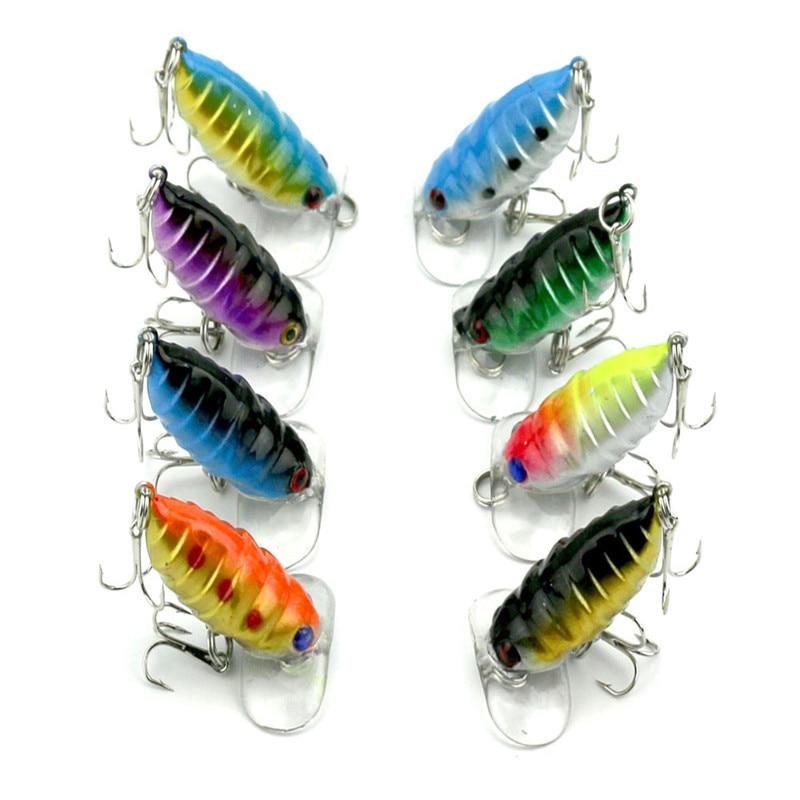 8 Uds 4cm 8 colores señuelos e insectos de plástico cebo 4,4g simulación de insecto biónico cebo falso