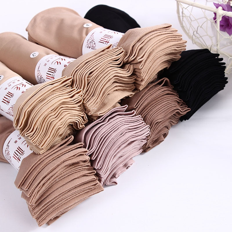 10 Pairs / lot Hot Sale Autumn Comfortable Silk Socks Women Low Price Cool Solid Color Breathable Se
