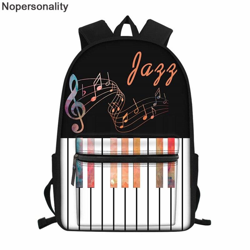 Noشخصية-حقيبة ظهر بطبعة البيانو للسيدات ، حقيبة ظهر نسائية ، حقيبة كتف غير رسمية للمراهقين