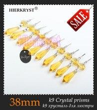 """HIERKRYST 10 teile/los Goldene Lüster Glas-kristall-lampe Prismen Teile eiszapfen Hängen Anhänger 38mm 1,49 """"#1910-4"""