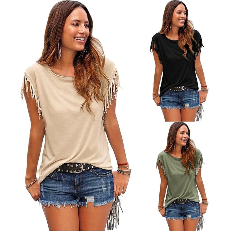2019 sommer neue top t shirt Baumwolle fringe drucke strand t-shirt frauen lustige hipster t-shirt Kurzarm tops PP-103