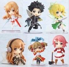 "Schwert Art Online Fee Tanz Kirito Asuna Lefa Figurine PVC Action-figuren Juguetes Sammlung Modell Kinder Spielzeug 6 teile/satz 2.5 ""6CM"