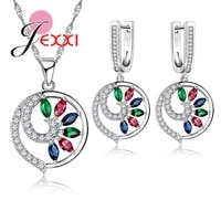 women gift jewelry sets unique design 925 sterling silver jewelry multicolor rhinestone jewelry set with necklace earrings