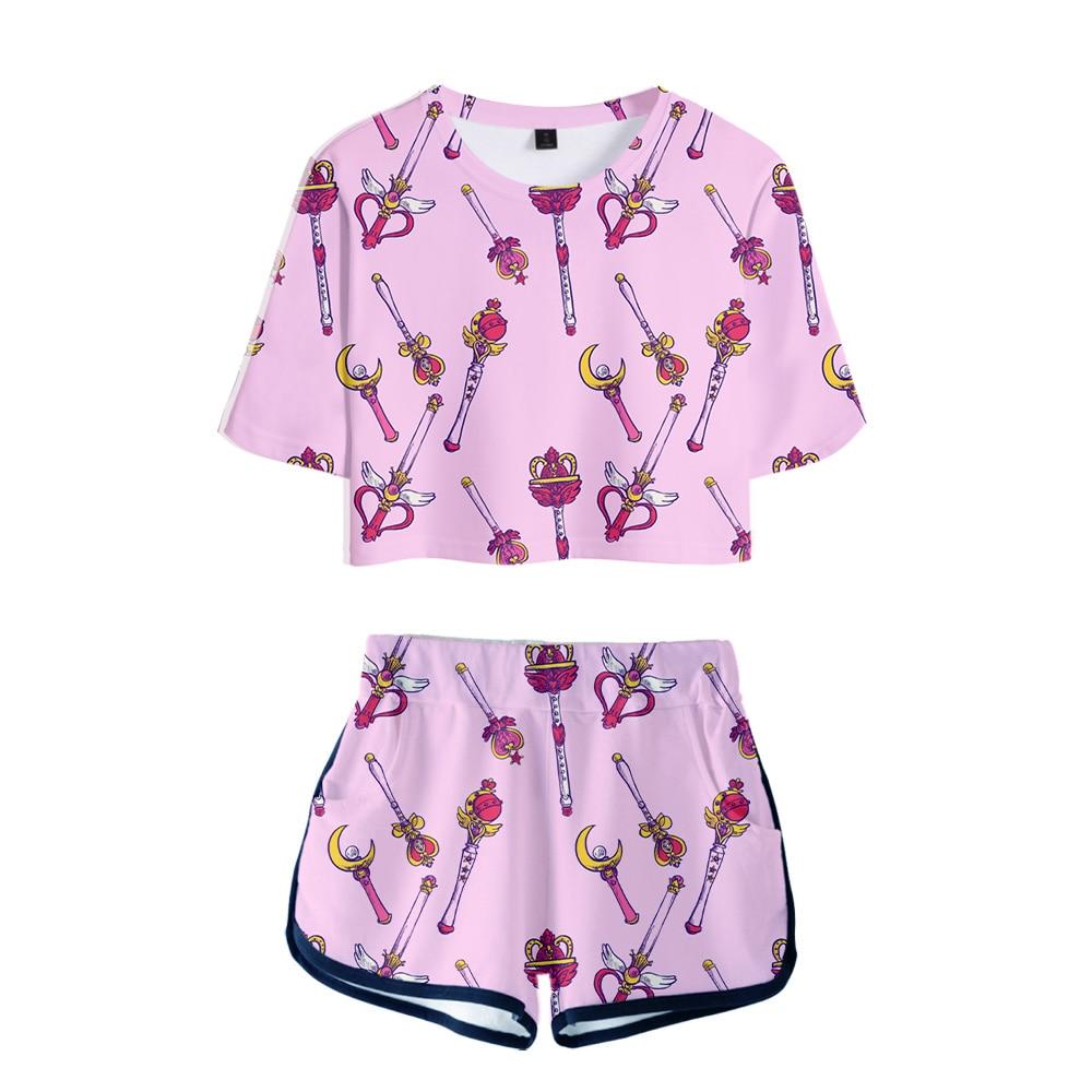 3D Sailor Moon Dew navel t shirt Sets Anime Women Two Piece Set Short Pants Summer Breathable Kawaii Sailor Moon Print Clothes