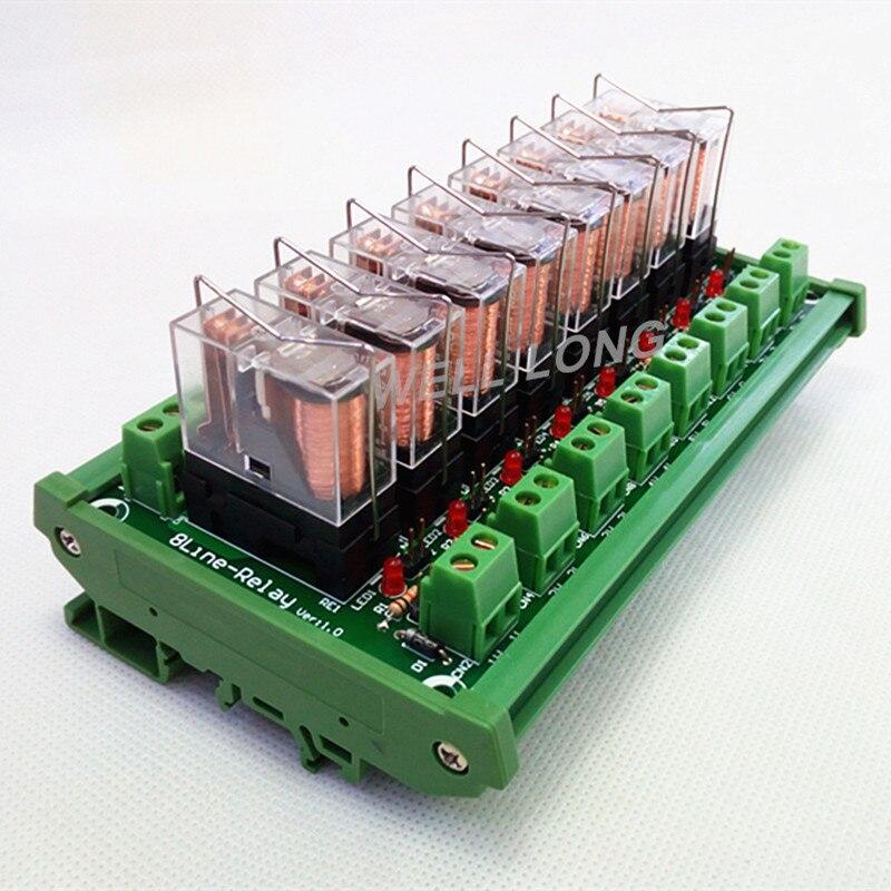 الدين السكك الحديدية جبل 8 SPDT 16A الطاقة تتابع واجهة وحدة ، اومرون G2R-1-E DC12V التتابع.