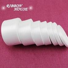 Ruban Satin blanc simple Face   (25 yards/roll), emballage cadeau en gros, rubans de noël