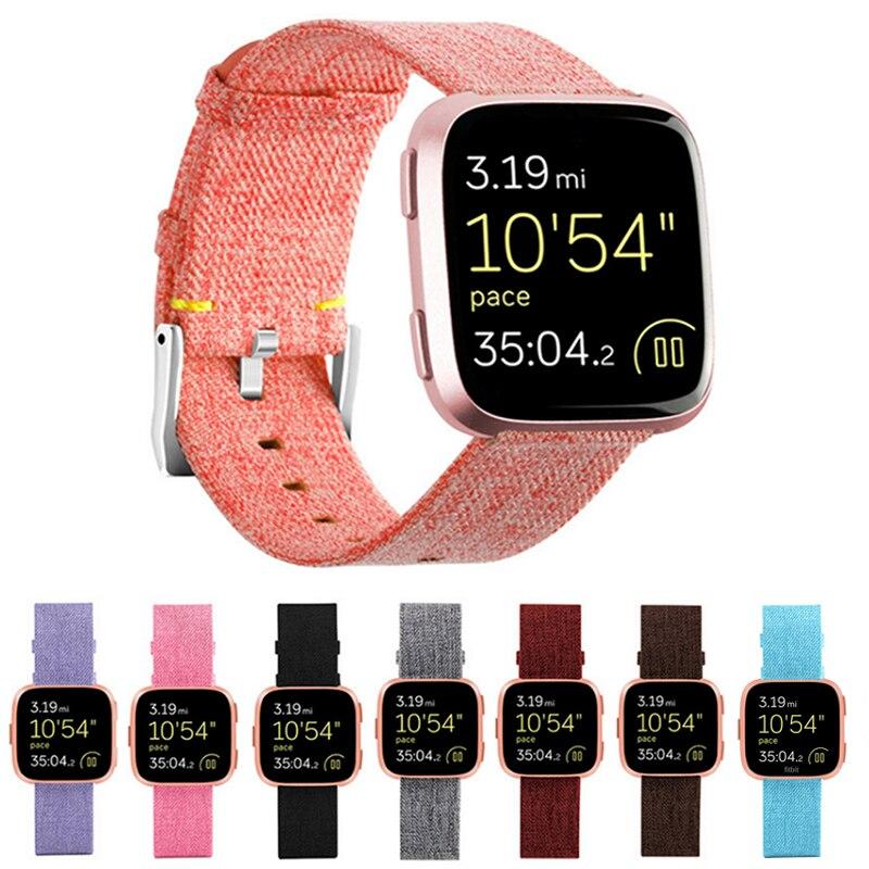 Correa de lona para correa de repuesto Fitbit Versa correa de reloj estable en Ajuste bit Versa 2 pulsera Vesa Lite pulsera inteligente Pulseira