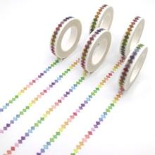 Fita adesiva decorativa para diy, fita xadrez para decoração de arco-íris, papel adesivo para escritório, 10m x 8, 1 peça mm