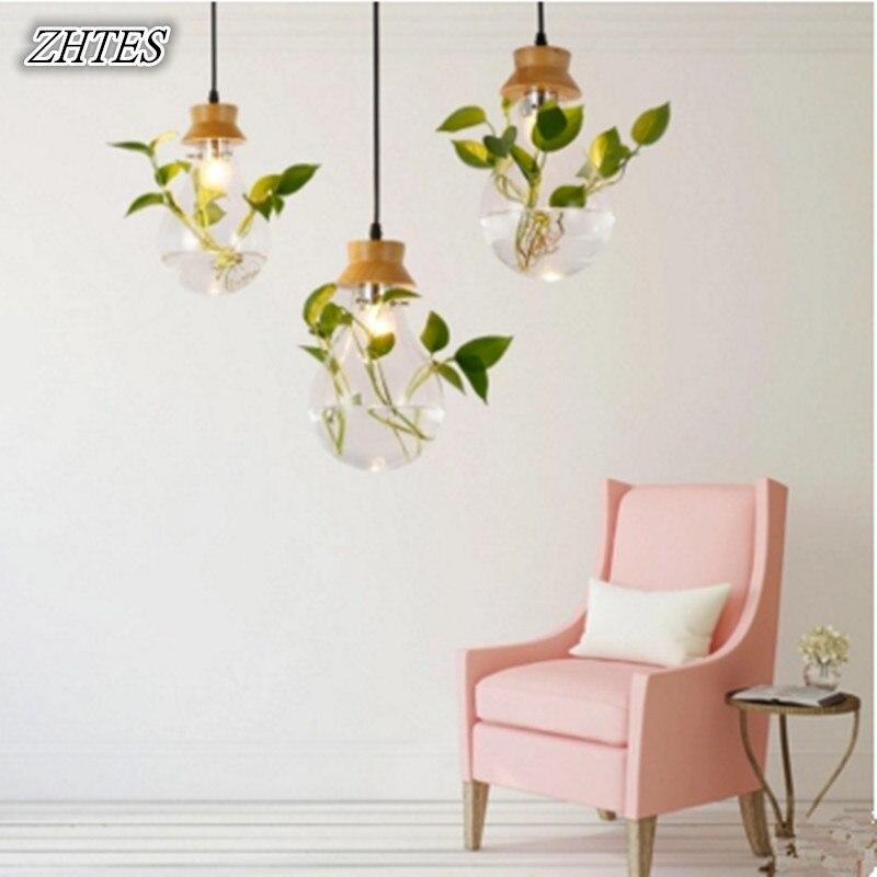 Pastoral Design Plant Glass Hanging Lamp modern parlor bedroom Restaurant Bar bulb shape Pendant Lighting