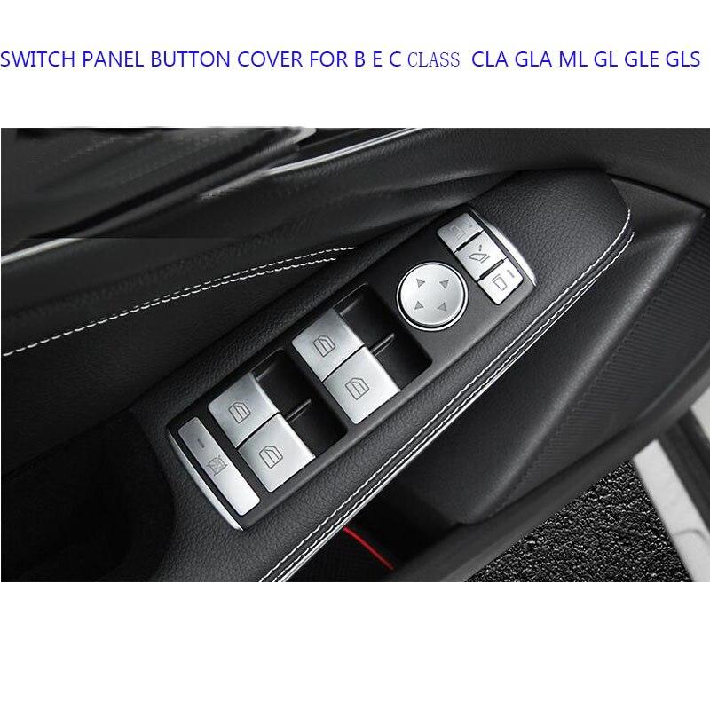 14PCS PEARL CHROME MATTE CHROM Car Window Lifter Panel Switch TRIM COVER FOR BENZ Mercedes B E C CLASS CLA GLA ML GL GLE GLS